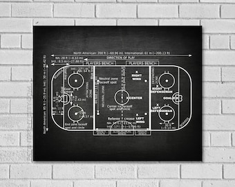 Hockey Gift - Ice Hockey Rink Patent Print - Hockey Decor - Ice Hockey Rink - Ice Hockey Patent - Hockey Art - Ice Hockey - Hockey SH000