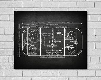 Hockey Gift - Ice Hockey Rink Patent Print - Hockey Decor - Ice Hockey Rink - Ice Hockey Patent - Hockey Art - Ice Hockey - Hockey SH000