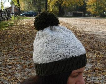 Hand knit hat winter hat knit beanie beanie hat pom pom hat pom pom knit hat olive green hat