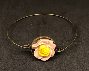 Brass Hook Bracelet with Pink & Yellow Resin Rose Cabochon