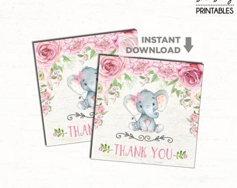 Elephant Baby Shower Favor Tags. Pink Floral Birthday Party Decoration. Baby Shower Favors. Pink Roses Birthday Gift Tags Thank You Tags RO1