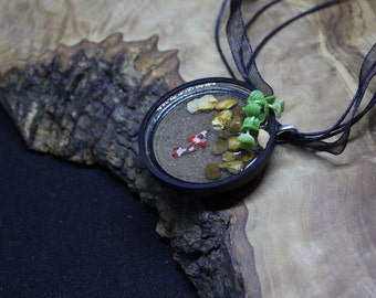 Doll house 1:12th miniature, portable 'Fish pond' necklace! Hand made, Unique, one of a kind.