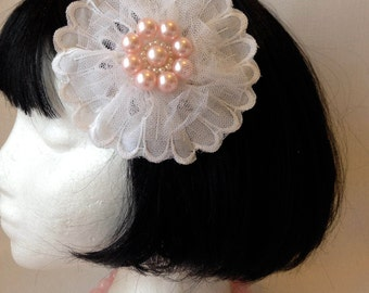 White Lace and Tulle Flower Hair Clip