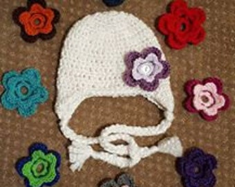 Crocheted Hat with Change Out Flowers