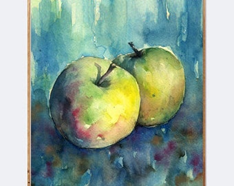 apple digital download, apple art printable, fruit decor, apple watercolor, fruit watercolor, apple art print, fruit printable, still life