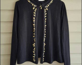 Vintage 80's Designers Originals women's Medium (petite) black & gold leaf embroidered two piece knit tank and open cardigan sweater set