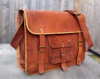 Full Grain Leather Messenger Bag Vintage Leather Bag Unisex Leather Satchel Leather Laptop Bag For Men or Women
