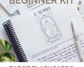 Learn Tarot and Tarot Card Meanings Tarot Beginner's Kit - includes tarot flashcards and tarot cheatsheet and tarot workbook for divination