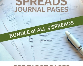 Tarot Spreads Journaling Pages, daily draw writing journal inserts and printable daily planner inserts for tarot reading and divination