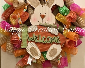 Easter Wreath, Bunny Wreath, Easter Decor, Easter, Door Wreath, Front Door Wreath, Wreaths, Spring Wreath, Summer Wreath, Spring Wreath,
