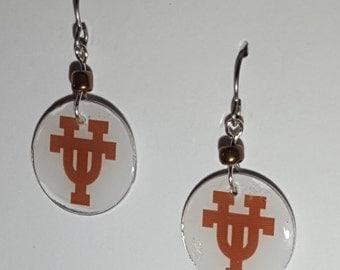 Texas Longhorns jewelry, Texas Longhorns earrings, Texas Longhorns, school spirit jewelry