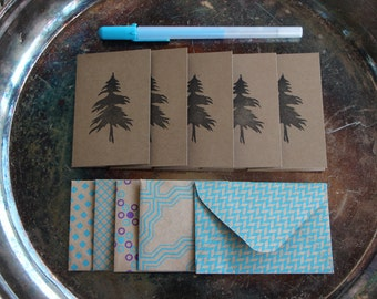 Tree Mini Cards, Set of 5, Hand Printed in Black from Carved Lino Block Stamp, West Coast Greeting Card, Stationery, Any Occasion
