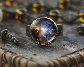 Orion nebula ring, Space ring, Nebula ring, Galaxy ring, Universe Jewelry, Orion bronze adjustable ring