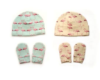 SALE Flamingo Organic baby clothes baby hat + baby mittens Size 0-3 months beanie toddler hat newborn hat newborn hats baby boy hat