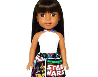 Mini Flare Skirt, Star Wars, Black, White, Red, Fits dolls such as Wellie Wishers Doll Clothes, 14.5 inch, Spring, Summer