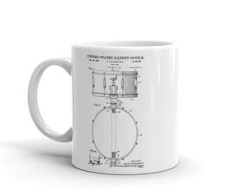 Snare Drum Patent Mug - Patent Mug, Musician Mug, Music Art, Musician Gift, Drum Patent, Drummer Mug, Drum Set, Drummer Gift