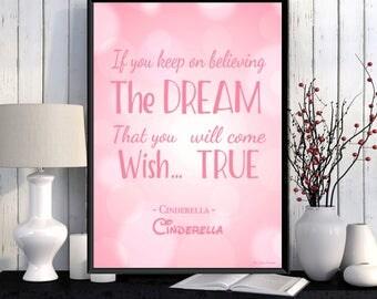 Disney quote, Disney print, Children poster, Cinderella, Girl room wall decor, Kids decor, Nursery print, Disney gift idea, Girl gift
