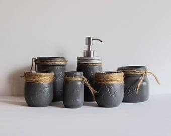 Gray Bathroom Organizer Set Bathroom Decor Gray Bathroom Gray Accents Mason Jar