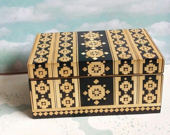 1970s Russian Inlaid Straw Art Woven Decoration Jewellery or Storage Box - Cotton lined