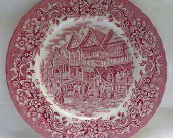 Vintage Royal Tudor Ware, 17th Century England, Ironstone, made in England, Pink, Dinner Plate, porcelaine anglaise ancienne, home decor