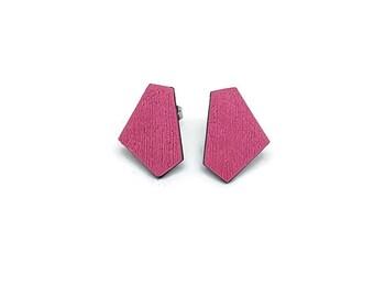 Geometric earrings pink, Pink stud earrings, Cute stud earrings, Everyday earrings, Simple earrings, Black and pink earrings, Earring studs