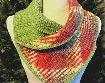 Garden Sunset Cowl | Plaid Cowl | Argyle | Color Pooling Cowl | Planned Pooling | Colorful Cowl | Gifts for Her