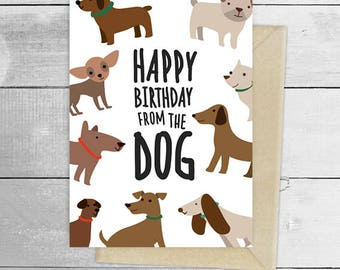 Happy birthday from the dog puppy greeting card