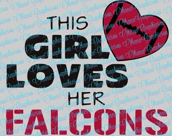 This Girl Loves Her Falcons w/ Football Heart SVG