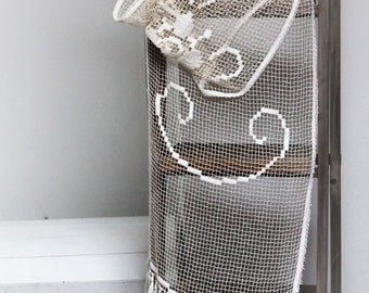 Curtain vintage crochet with fringes - ecru color - handmade crochet in France - french old linen