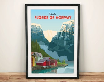 Explore the Fjords of Norway | Travel Poster |  Unframed
