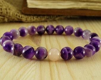 Amethyst bracelet quartz bracelet yoga jewelry purple bracelet everyday bracelet gemstone bracelet meditation bracelet beaded bracelet gifts