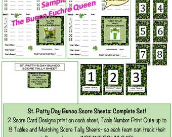 St Patty's Day Bunco Score Sheet, Table Numbers and Matching Tally Sheet!  St. Patrick's Day Bunco Game Night! St. Patty's Day Table Numbers