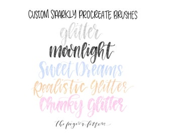 Glitter Brush BUNDLE | 5 Custom Sparkly Procreate Brushes | The Pigeon Letters