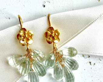 Prasiolite Earrings--Green Amethyst Earrings--Green Amethyst Jewelry--Amethyst Earrings