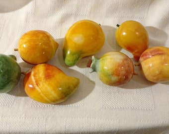 Vintage Large Italian Alabaster/Marble Fruit 7 Pieces