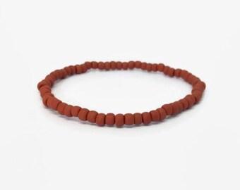 ginger bead bracelet,auburn bracelet, terra-cotta bracelet, umber bracelet, cinnamon bracelet, agile bracelet, Elastic bead bracelet