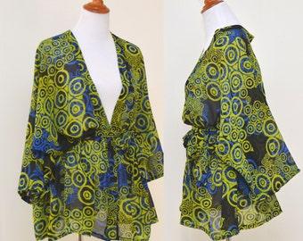 Green kimono, green geometric robe, green flowers robe, lady sweet pea robe, lime cardigans, green bridal kimono, short basil kimono