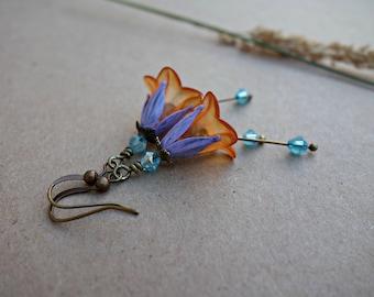 Boho Earrings - Flower Earrings - Bohemian Earrings - Floral Earrings - Peach Earrings - Purple Earrings - Woodland Earrings - Nature Gift.