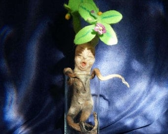 Needle felted Mandragora (demon) Handmade with 100% Natural Wool.
