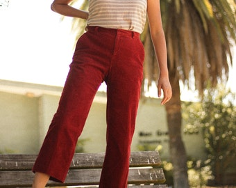 Vintage Red Corduroy High-Waisted Pants