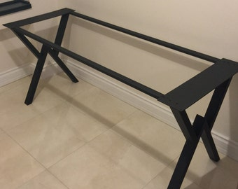 "28""  Metal Table Legs w Extension Bars, Steel Base, Width 24"", Height 26"" - 30"" - Set of 2"