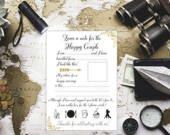 Travel wedding advice card Advice for the Bride and Groom Advice for the Newlyweds  Advice card printable Advice cards for happy couple