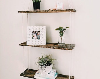 Three Tiered Hanging Shelf, Pallet Wood Shelf, Swing Shelf, Reclaimed Wood Shelf, Pallet Art, Suspended Shelf, Wall Art, Pallet Art