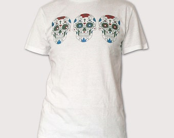 Mexican Death Mask Screen Printed White T Shirt