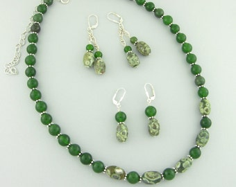 """Rhyolite (Rainforest Jasper)  & Jade Semi Precious Stones with Sterling Silver rondels Necklace 18"""" +5"""" Extender Necklace Handcrafted 2827"""