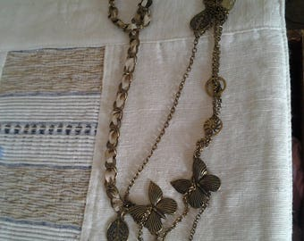 Vintage Brass and Ribbon Chain Long Necklace - Boho - Multistrand