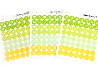 Foil Stickers! 56 Foiled Icon Stickers//SINGLE SHEET//Green Yellow Icon Stickers//Lime Color Palette