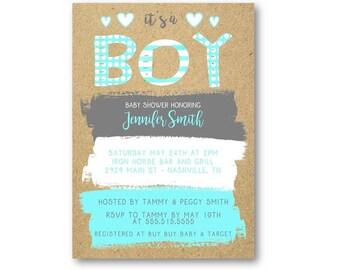 Boy Baby Shower Invitations   Baby Boy Shower Invitations   Baby Shower Invitations   Boy Shower Invites   Polka Dots And Stripes  
