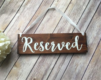 Reserved Seating Sign Rustic Wooden decor Reception Ceremony Bride and Groom chair deco Farmhouse church decoration for wedding