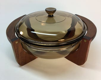 Vintage Pyrex 2 QT. smoked glass casserole dish with teak stand